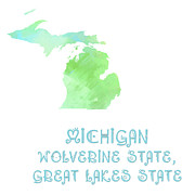 Wolverine Prints - Michigan  - Wolverine State - Great Lakes State - Map - State Phrase - Geology Print by Andee Photography