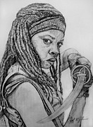 Celebrity Sketch Drawings - Michonne The Walking Dead by Jeff McJunkin
