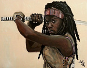 The Walking Dead Prints - Michonne Print by Tom Carlton
