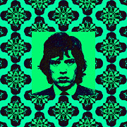 Americans Digital Art Posters - Mick Jagger Abstract Window p128 Poster by Wingsdomain Art and Photography