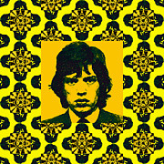 Americans Digital Art Posters - Mick Jagger Abstract Window p28 Poster by Wingsdomain Art and Photography