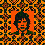 Americans Digital Art Posters - Mick Jagger Abstract Window Poster by Wingsdomain Art and Photography