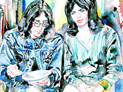 Jagger Paintings - MICK JAGGER and JOHN LENNON eating watercolor portrait by Fabrizio Cassetta