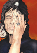 Rolling Stones Mixed Media Metal Prints - Mick Jagger Metal Print by Andrea Schiavetti