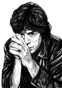 Mick Jagger Drawings - Mick Jagger art drawing sketch portrait by Kim Wang