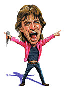 Caricatures Paintings - Mick Jagger by Art