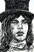 Jagger Paintings - MICK JAGGER black ink portrait by Fabrizio Cassetta