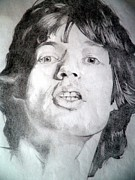 Vocalist Drawings Framed Prints - Mick Jagger - Large Framed Print by Robert Lance
