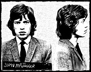 Mug Shot Prints - Mick Jagger Mugshot in Black and White Print by Bill Cannon