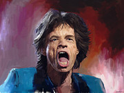 Rolling Stones Mixed Media Metal Prints - Mick Jagger Painting Metal Print by Robert Wheater