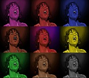David Dehner Prints - Mick Jagger Pop Art Print Print by David Dehner