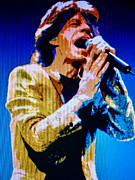Lead Singer Painting Metal Prints - Mick Jagger Pop Art Metal Print by Ryszard Sleczka