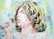 Rolling Stones Painting Prints - MICK JAGGER SINGING watercolor portrait Print by Fabrizio Cassetta