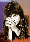 Rolling Stones Mixed Media Metal Prints - Mick Jagger - stylised pop art drawing potrait poser Metal Print by Kim Wang