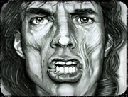 Rolling Stone Drawings - MIck Jagger by Terry  McColl