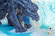 Action Figure Prints - Mickey and Yoda vs Ice Dragon Print by Bill Tiepelman