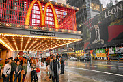 Fast Food Framed Prints - Mickey Ds in Manhattan Framed Print by David Bearden