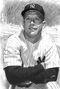 Yankees Drawings Framed Prints - Mickey Mantle Framed Print by Viola El