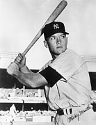Mlb Metal Prints - Mickey Mantle at-bat Metal Print by Sanely Great