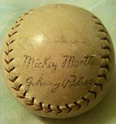 Mickey Mantle Photos - Mickey Mantle Baseball Autograph by Lois Ivancin Tavaf