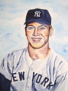 Yankees Portraits Prints - Mickey Mantle Print by Brian Degnon