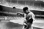 Athlete Metal Prints - Mickey Mantle Metal Print by Sanely Great