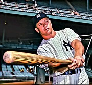 Mickey Mantle World Series Framed Prints - Mickey Mantle Painting Framed Print by Florian Rodarte