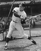 League Metal Prints - Mickey Mantle Poster Metal Print by Sanely Great