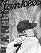 Yankees Drawings Originals - Mickey Mantle by Scott  Hubbert