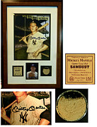 Bat Mixed Media - Mickey Mantle Signed Lithograph  by Iconic Images Art Gallery David Pucciarelli
