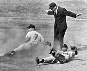 Baseball Games Prints - Mickey Mantle Steals Second Print by Underwood Archives