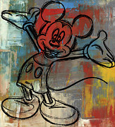 Paulette Wright Digital Art Prints - Mickey Mouse Sketchy Hello Print by Paulette Wright