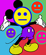 Ears Mixed Media Posters - Mickey Smiles Poster by Tony Rubino