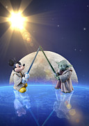 Saber Digital Art - Mickey vs Yoda by Bill Tiepelman