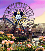 Paradise Pier Posters - Mickeys Fun Wheel II Poster by Doug Kreuger