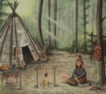 Rack Paintings - Micmac Evening--Waiting For The Hunters To Return by Wahleyah Black