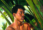 Boy Painting Originals - Micronesia by Douglas Simonson