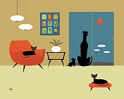 Midcentury Posters - Mid Century Dogs and Cats Poster by Donna Mibus