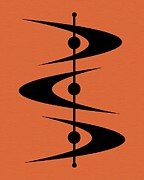 Midcentury Posters - Mid Century Shapes on Orange 3 Poster by Donna Mibus