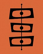 Midcentury Posters - Mid Century Shapes on Orange Poster by Donna Mibus