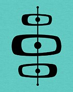 Midcentury Posters - Mid Century Shapes on Turquoise 2 Poster by Donna Mibus