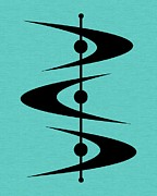 Midcentury Posters - Mid Century Shapes on Turquoise 3 Poster by Donna Mibus