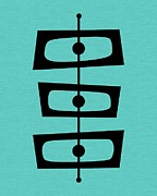 Midcentury Posters - Mid Century Shapes on Turquoise Poster by Donna Mibus