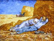 Midday Painting Posters - Midday Rest  after Millet Poster by Vincent van Gogh