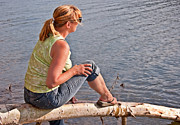 Casual Blue Jeans Posters - Middle Aged Woman Relaxing at Lake Poster by Valerie Garner