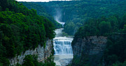 Finger Lakes Photo Originals - Middle and Upper Falls at Letchworth State Park by Steve Clough
