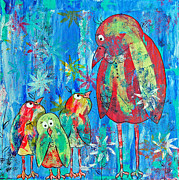Baby Bird Mixed Media Framed Prints - Middle Child Framed Print by Robin Coats