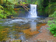 Photographs Mixed Media - Middle North Falls - Silver Falls State Park by Photography Moments - Sandi