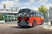 Art Deco Painting Framed Prints - Midland Red C1 coach. Framed Print by Mike  Jeffries