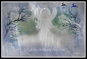 Angel Blues  Digital Art Posters - Midnight Angel Of Peace Poster by Sherri  Of Palm Springs